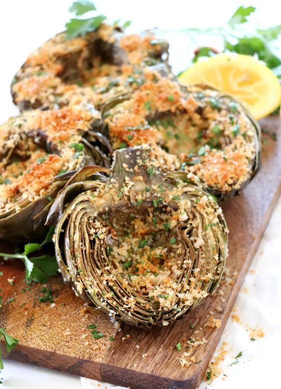 March's seasonal vegetables | roasted artichokes healthy recipe panko parmesan | Girlfriend is Better