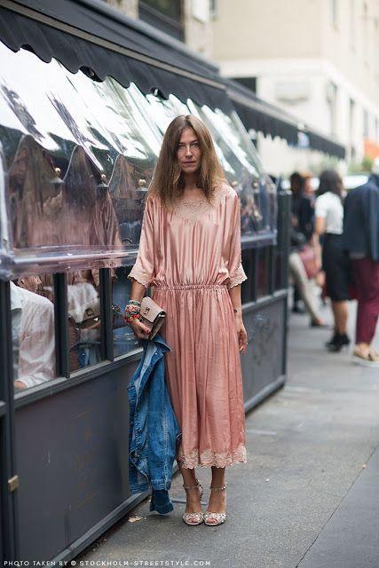 retro romance   pink slip dress lace denim jacket French girl cool   Girlfriend is Better