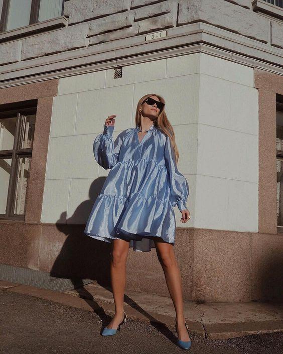 retro romance   60s voluminous dress mini blue puff sleeves ruffles   Girlfriend is Better