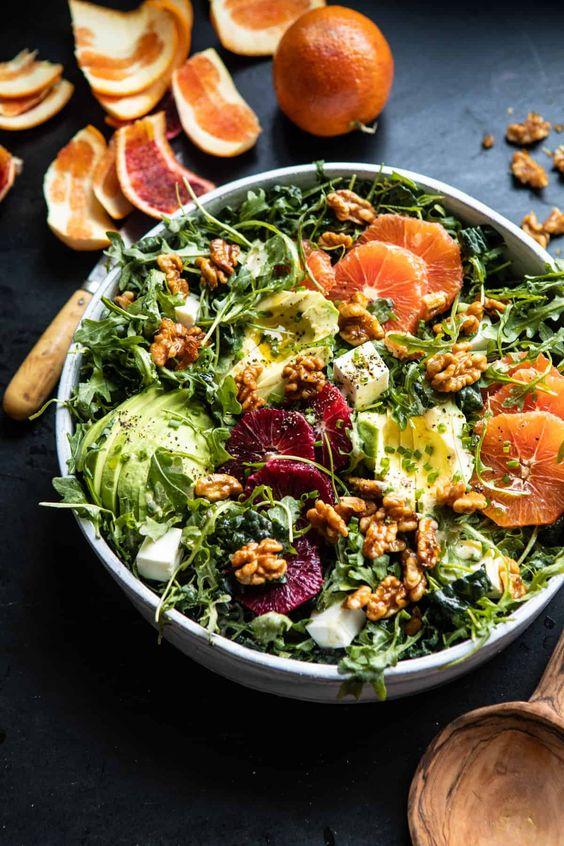 April seasonal vegetables | citrus avocado salad orange tahini vinaigrette blood regulating calcium recipes | Girlfriend is Better