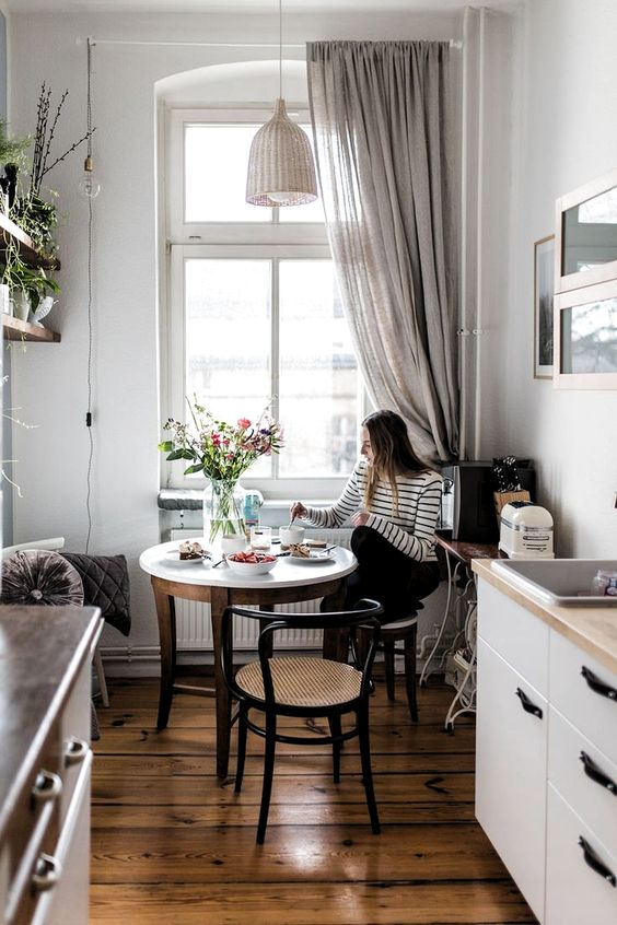 bistro tables | kitchen nook horseshoe chair caned seat apartment dining | Girlfriend is Better