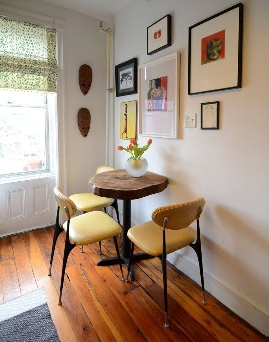 bistro tables | yellow chairs nook corner gallery wall | Girlfriend is Better