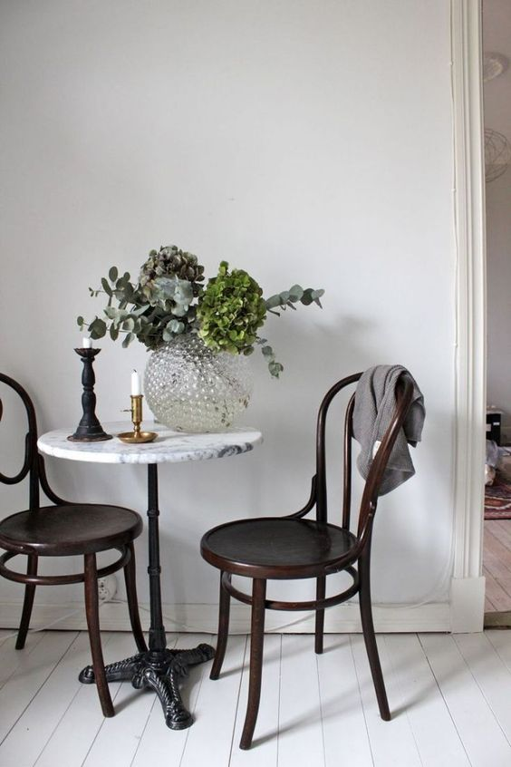 bistro tables | marble tabletop candlesticks bentwood chairs nook hygge natural decor | Girlfriend is Better