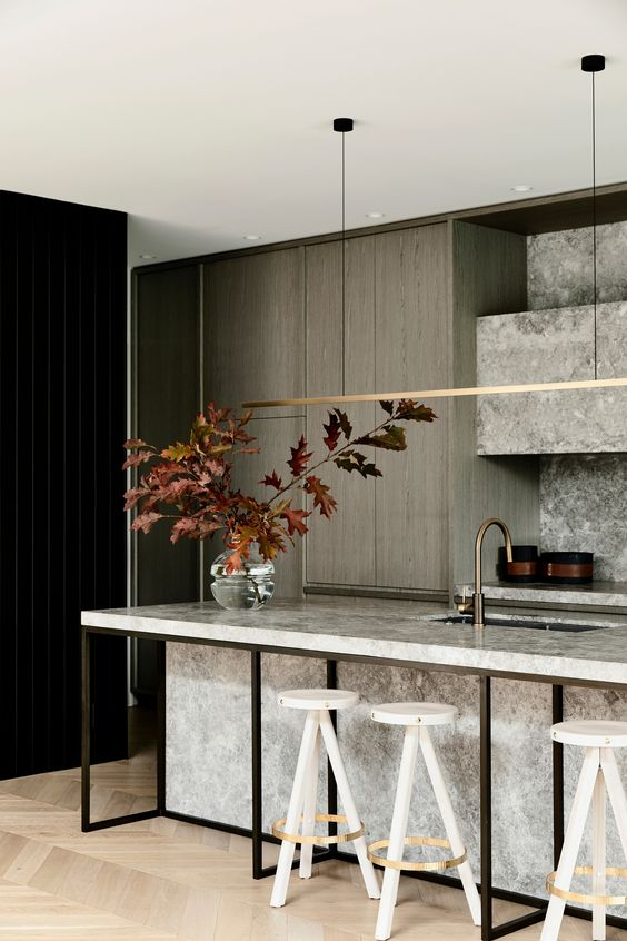 hygge tablescapes | bar top leafy branches herringbone wood flooring minimalism | Girlfriend is Better