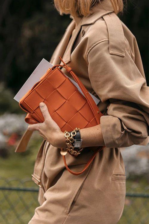 oversized woven purses | neutral maxi weave crossbody bag jumpsuit work wear | Girlfriend is Better
