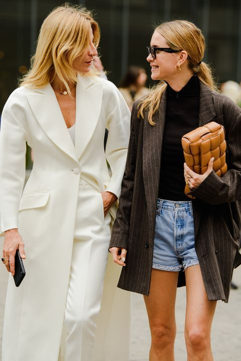 oversized woven purses | padded maxi weave structured clutch double-breasted blazer denim cut-off shorts business casual | Girlfriend is Better