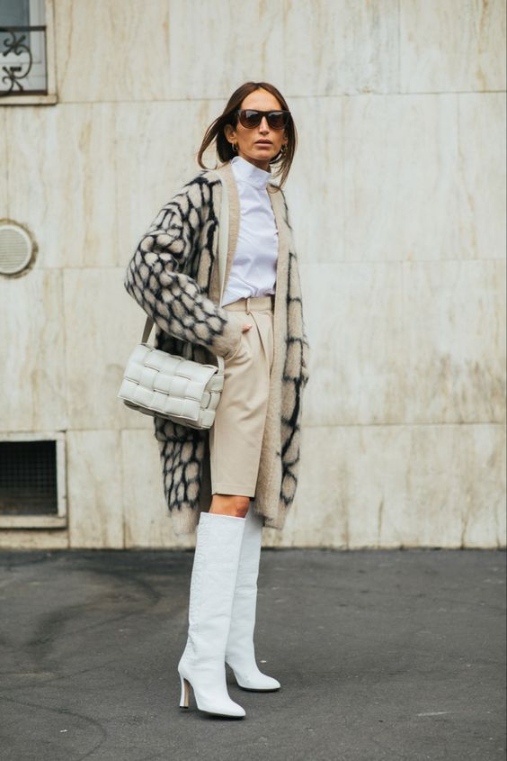 oversized woven purses | light neutrals all white leather boots business casual shorts | Girlfriend is Better