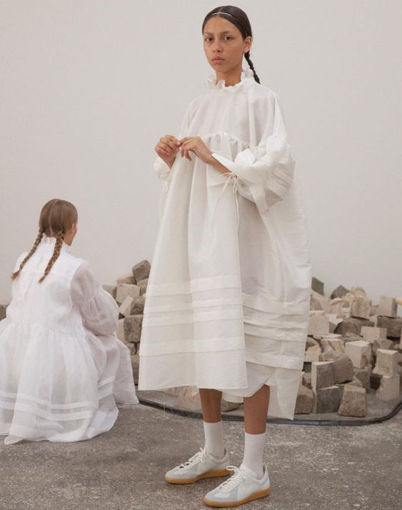 plain white dress | cotton baby doll oversized pleats ruffled neck tie cuffs tennis shoes | Girlfriend is Better