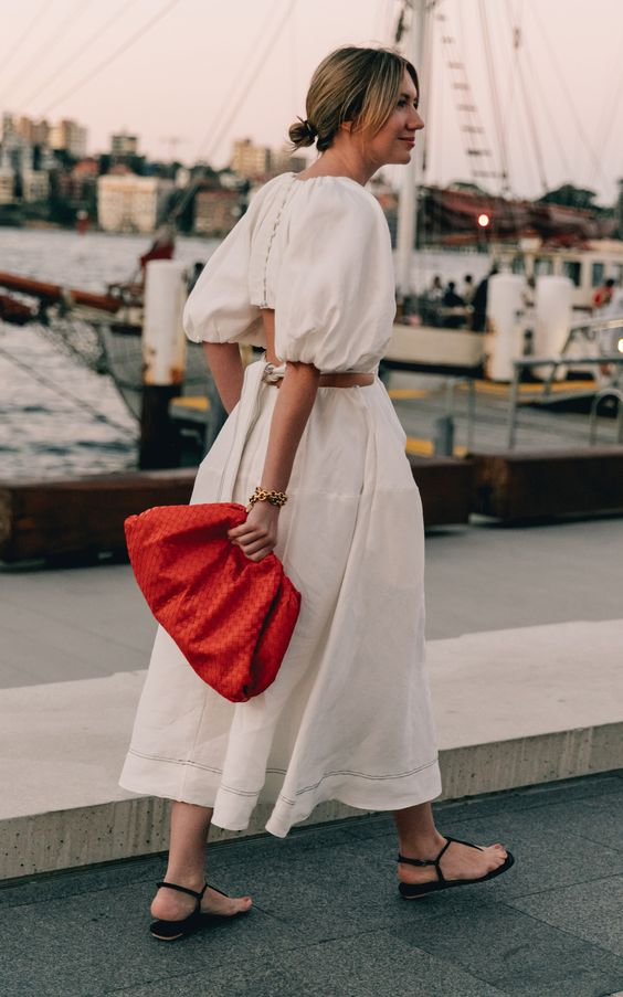plain white dress | balloon sleeves mid-length oversized clutch | Girlfriend is Better