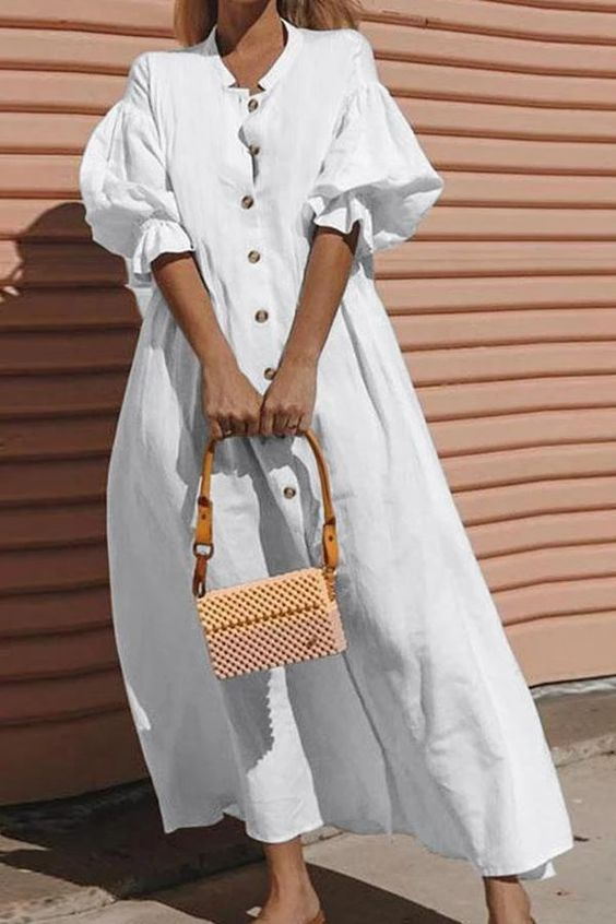 plain white dress | button front neutral top handle purse puff shoulders balloon sleeves | Girlfriend is Better