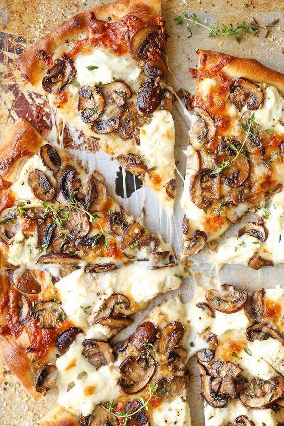 staycation activities   easy recipes seasonal vegetables white mushroom pizza   Girlfriend is Better