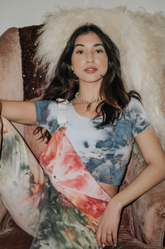 tie dye | cotton cropped tee overalls hand dyed | Girlfriend is Better