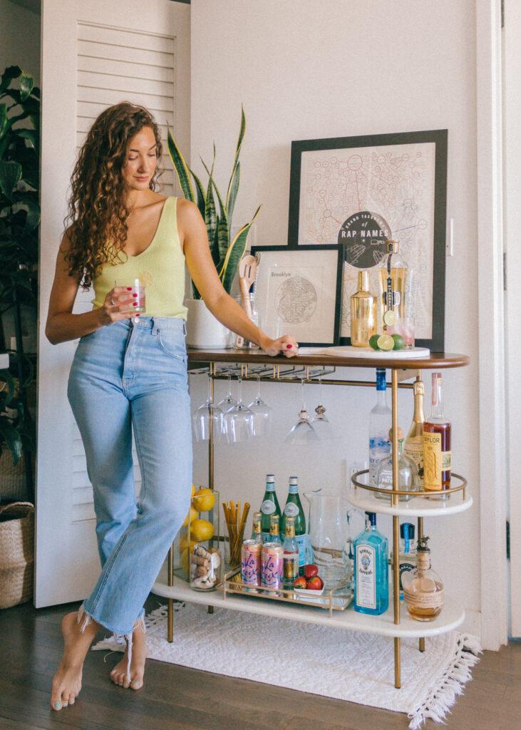 bar cart styling | mixers alcohol liquor hostess glassware martini shaker | Girlfriend is Better