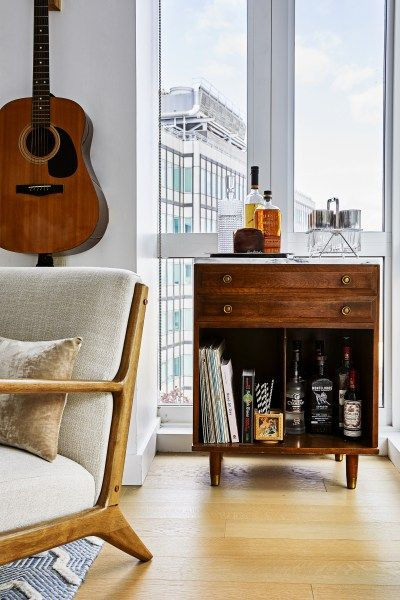 bar cart styling | vintage cabinet whiskey high ball glass rack coasters mid-century modern | Girlfriend is Better