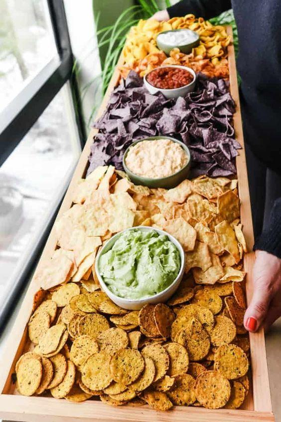 Cinco de Mayo party | corn tortilla chips dip serving board DIY guacamole salsa | Girlfriend is Better