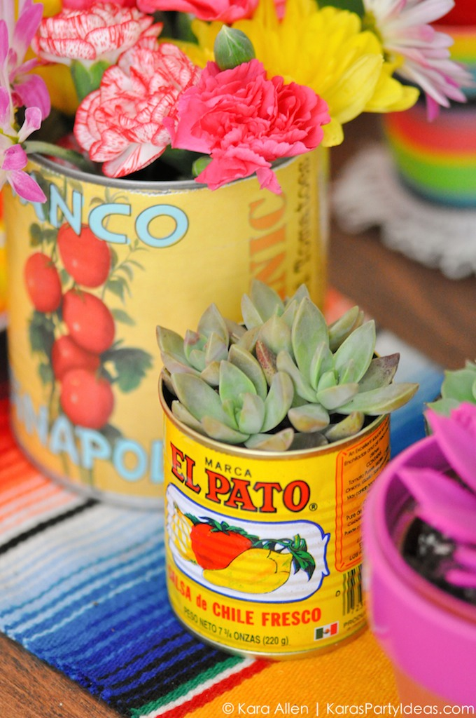 Cinco de Mayo party decor | succulents Mexican food cans tablescape blanket | Girlfriend is Better