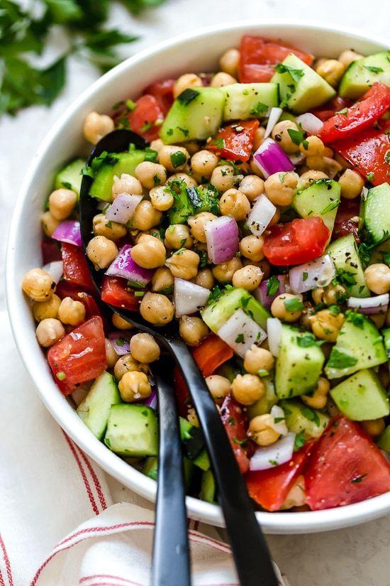 May seasonal vegetables | Chickpea Salad Cucumbers Tomatoes vegetarian | Girlfriend is Better