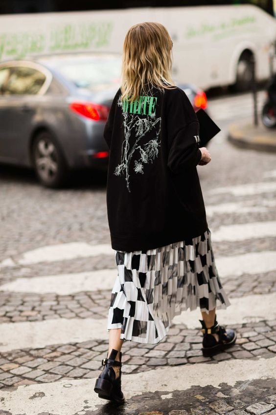 oversized graphic tees   heavy metal midi-skirt ankle boots modern grunge 90s   Girlfriend is Better