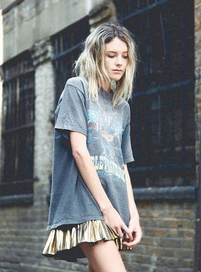 oversized graphic tees   faded boys thrift shirt gold mini skirt modern grunge 90s   Girlfriend is Better