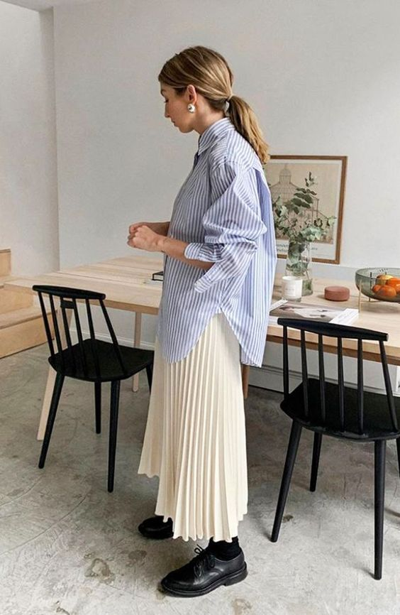oversized menswear   striped chambray button up blouse pleated mid-length midi skirt work wear   Girlfriend is Better
