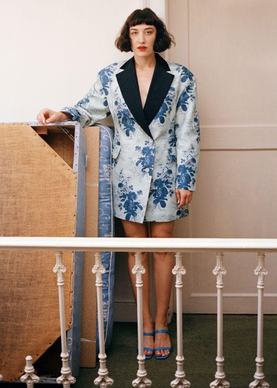 oversized menswear   blue floral double-breasted blazer mini dress cocktail fashion   Girlfriend is Better