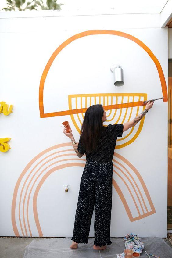 painting murals | painters tape rainbows mid-century modern abstract art | Girlfriend is Better