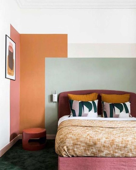 painting murals | color blocking bedroom wall paint abstract art | Girlfriend is Better