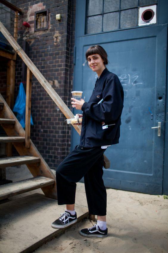 workman style   culottes denim jacket Adidas handcrafted blue collar fashion   Girlfriend is Better