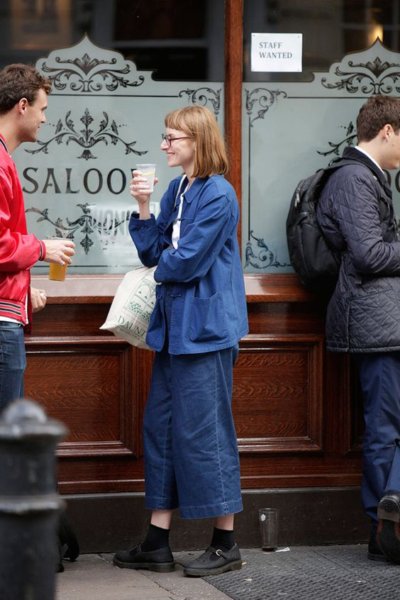 workman style | culottes denim high-water pants jacket pockets hipster fashion | Girlfriend is Better