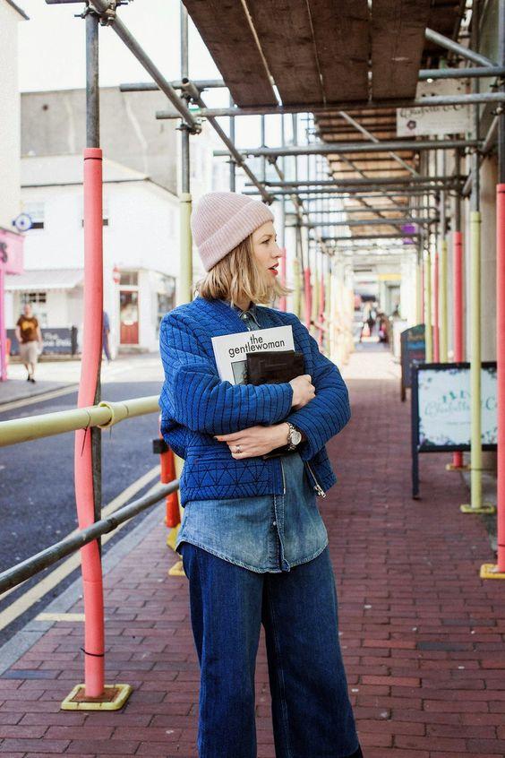 workman style | denim navy blue fisherman beanie cropped jacket chambray button up blouse wide-leg pants | Girlfriend is Better