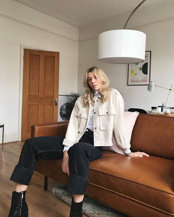 workman style | cream denim chore coat cropped layering | Girlfriend is Better