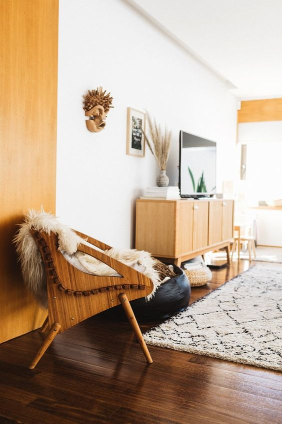 yellow home decor | wall paint mid-century modern chair earth element | Girlfriend is Better
