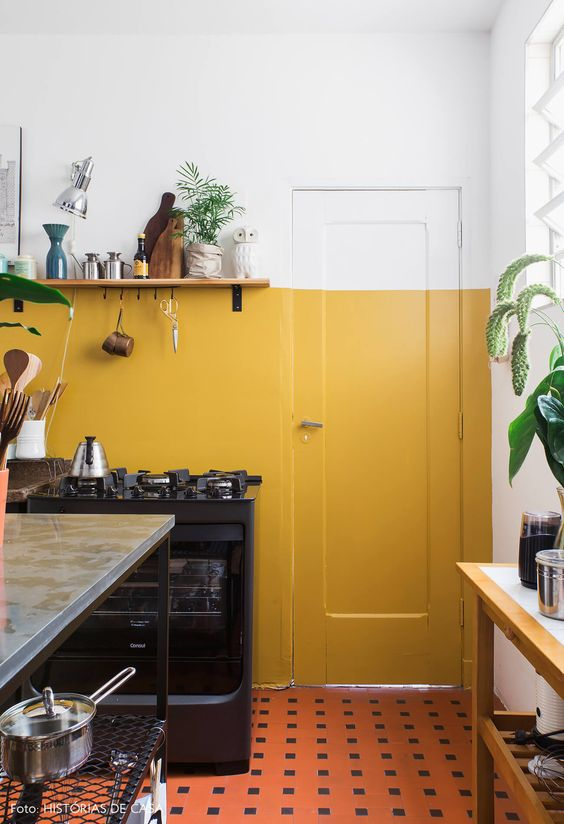 yellow home decor | health well-being Feng Shui kitchen wall paint Hygge | Girlfriend is Better