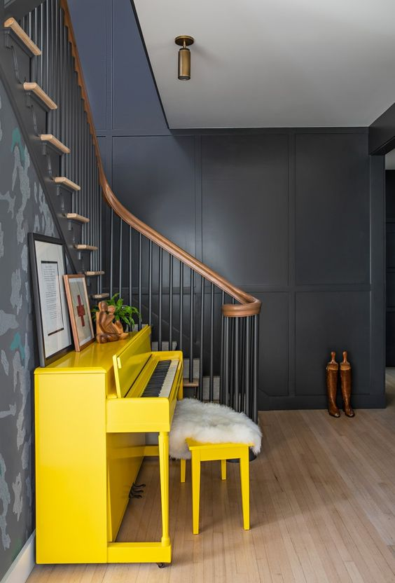 yellow home decor | upright piano dark wall paint entryway upcycling refinish | Girlfriend is Better