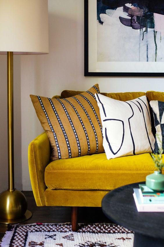 yellow home decor | gold velvet sofa mid-century modern office | Girlfriend is Better