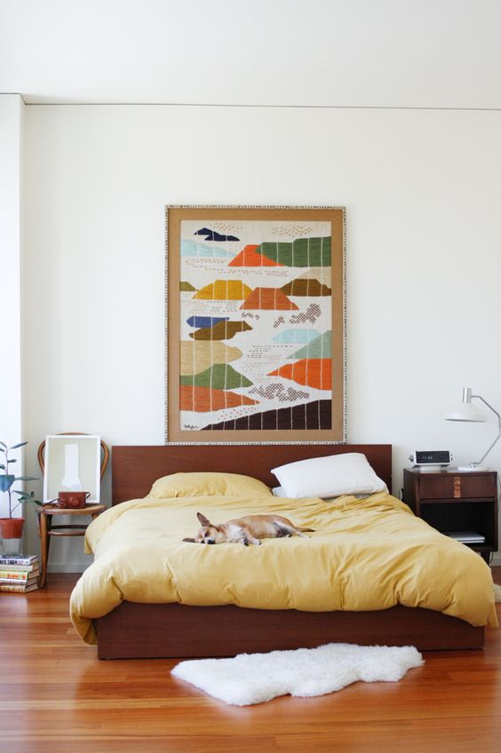 yellow home decor | abstract landscape painting linen bedding guest bedroom | Girlfriend is Better
