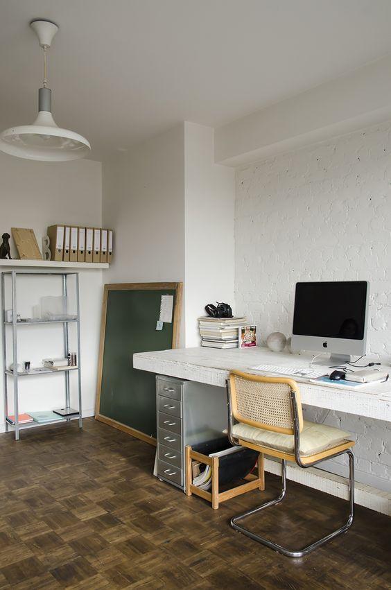 creative home office | desk Breuer style chair chalkboard industrial kitchen shelving | Girlfriend is Better