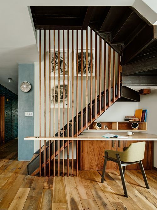 creative home office | room divider staircase built-in desk mid-century modern nook | Girlfriend is Better