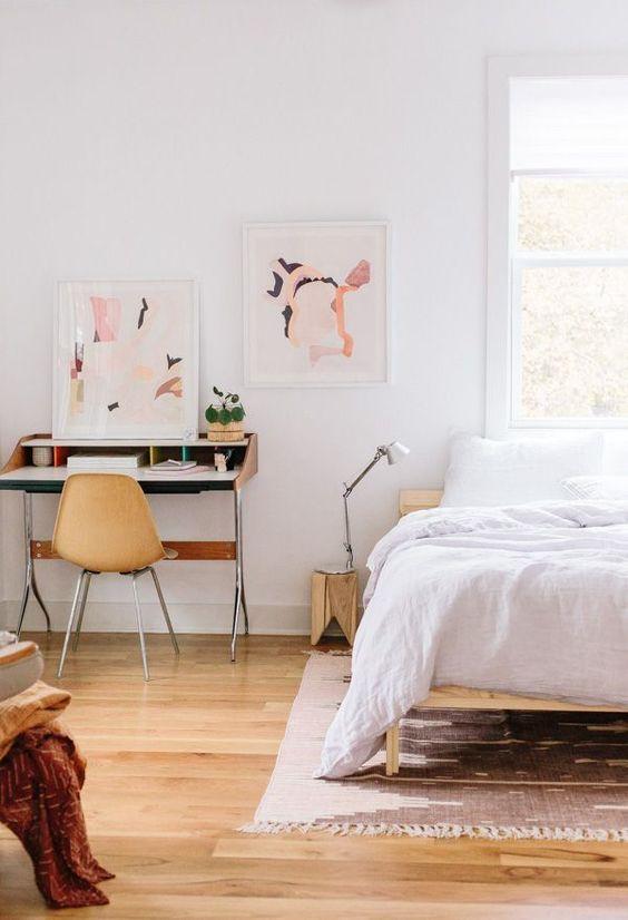 creative home office | guest bedroom desk chair abstract art yellow decor | Girlfriend is Better