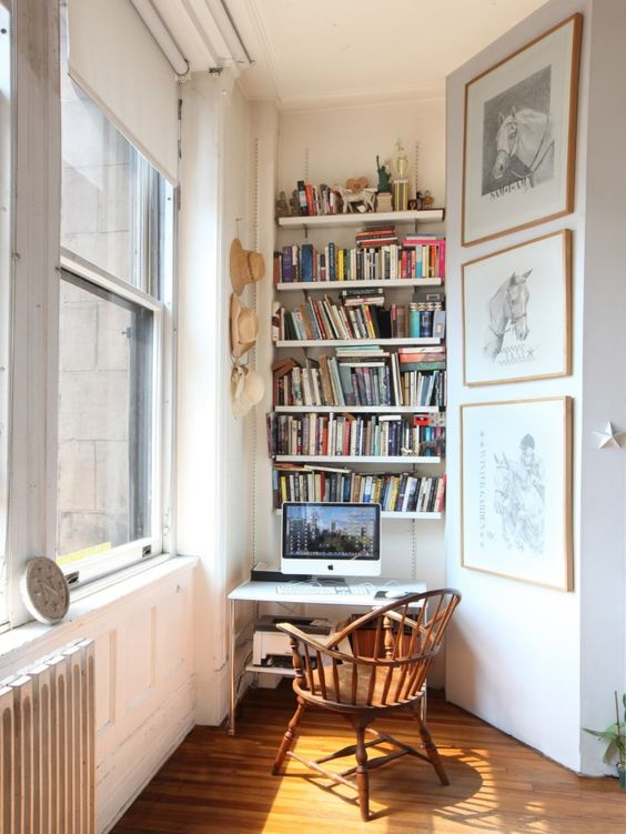 creative home office | open shelving sunny window nook small spaces apartment | Girlfriend is Better