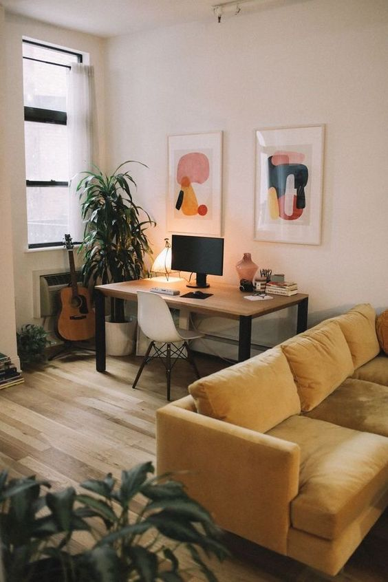 creative home office | gold sofa rearrange living room Bohemian shared spaces | Girlfriend is Better