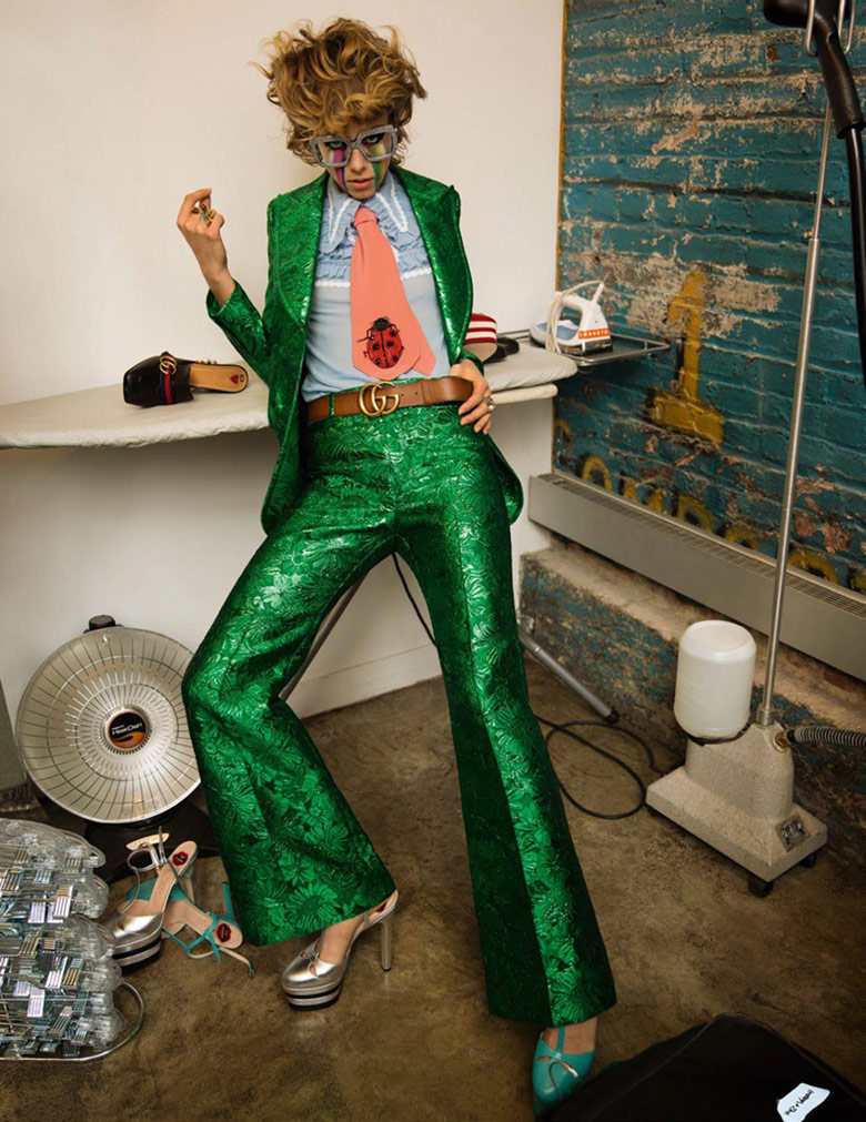 jewel tones   emerald brocade pant suit Gucci belt menswear tuxedo collar party outfit   Girlfriend is Better