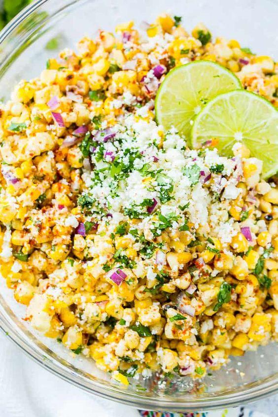June seasonal vegetables   Elote Grilled Mexican Corn Salad summer healthy eating recipe vegetarian   Girlfriend is Better