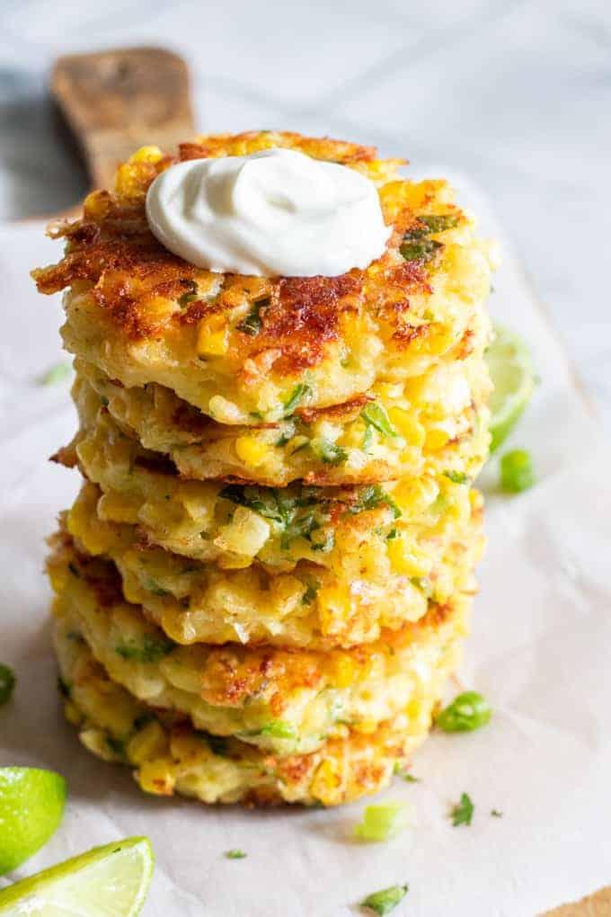 June seasonal vegetables   Cheesy Corn Fitters vegetarian recipe healthy snack   Girlfriend is Better