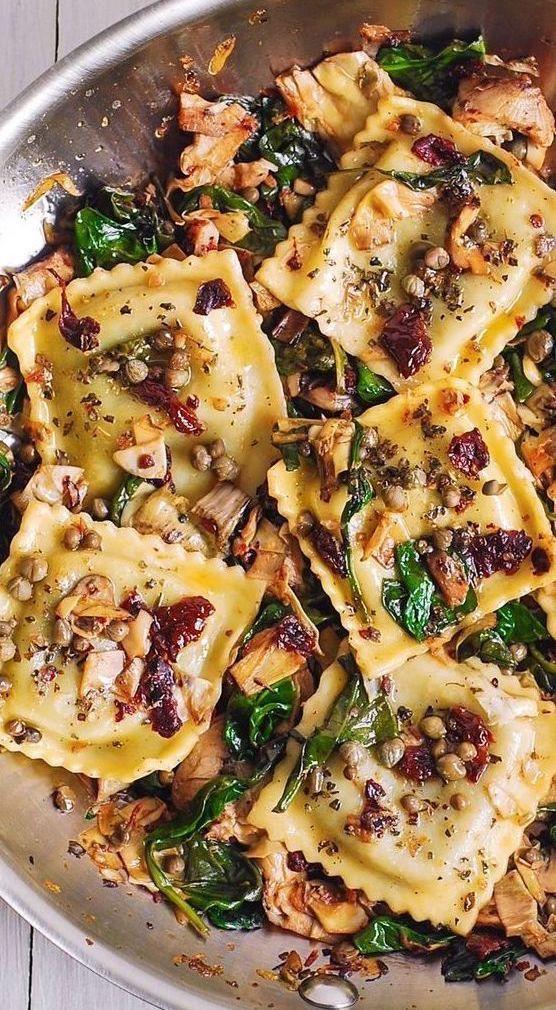 June seasonal vegetables   Italian Ravioli Spinach Artichokes Capers Sun-Dried Tomatoes recipe   Girlfriend is Better