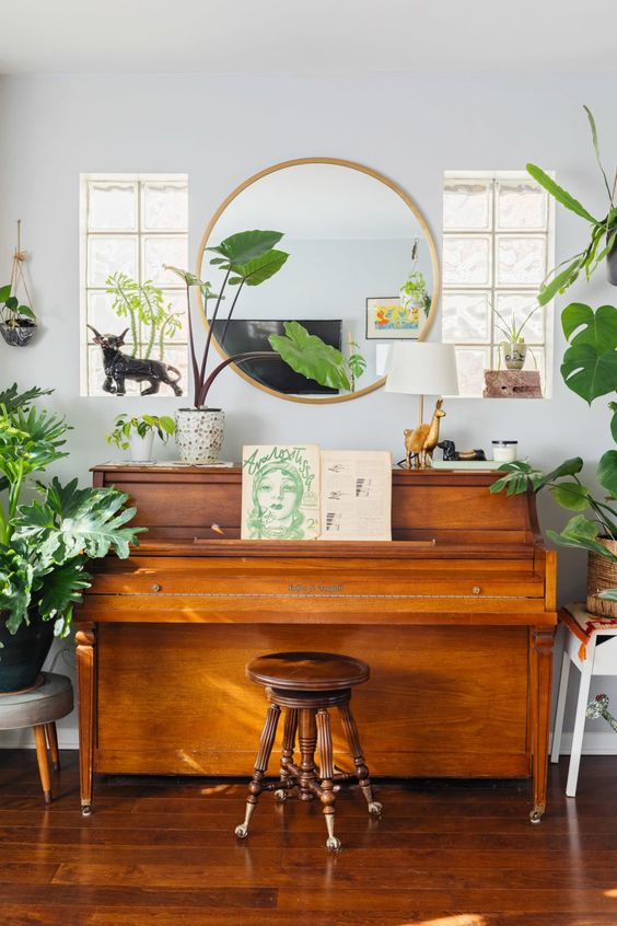 pianos | Bohemian round mirror plant lady vintage stool | Girlfriend is Better