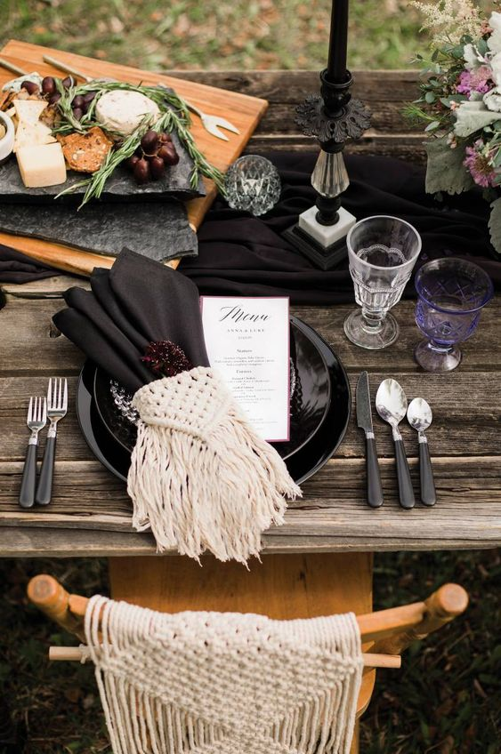 table settings bohemian eclectic | earth element macrame vintage glassware candlesticks | Girlfriend is Better