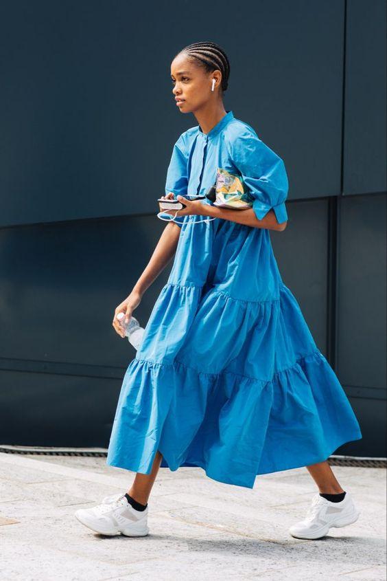 voluminous dresses   blue tiered hem puff shoulders short sleeve white tennis shoes street style   Girlfriend is Better