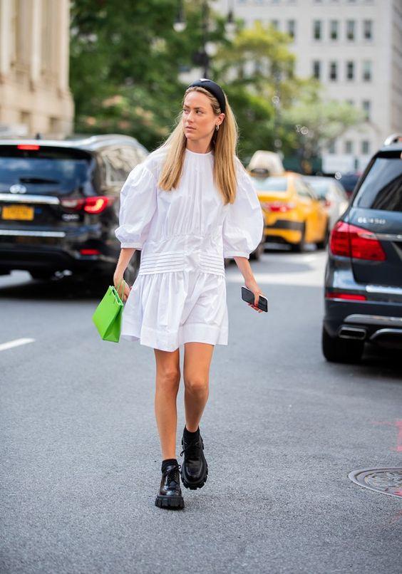 voluminous dresses   plain white drop waist puff balloon sleeves black boots thick soles street style   Girlfriend is Better