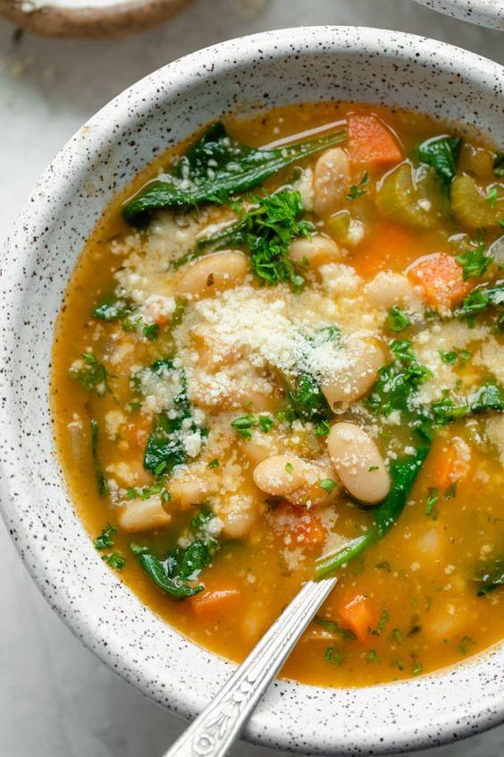 July seasonal vegetables   Mediterranean white bean soup vegan recipe   Girlfriend is Better